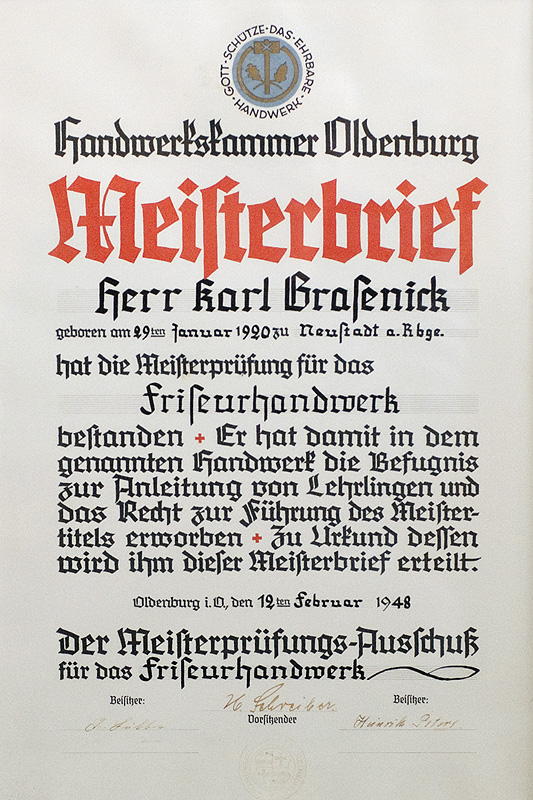 Meisterbrief Karl Grasenick